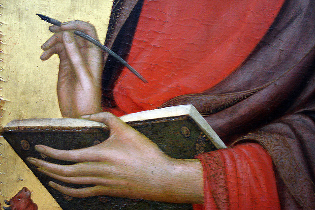 hands writing medieval