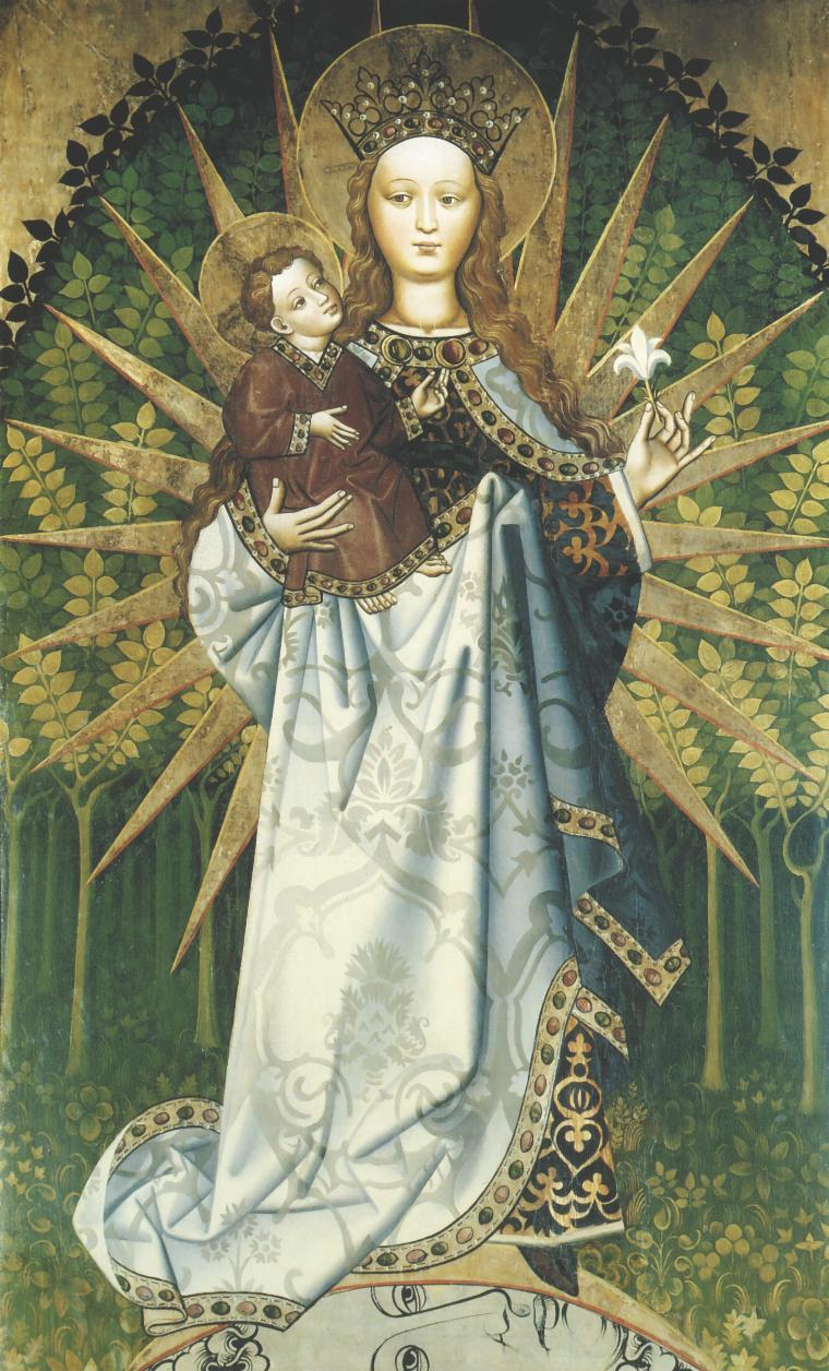 Matka Boska z dzieciątkiem ubrana w słońce na tle gaju, kościół w Przydonicy